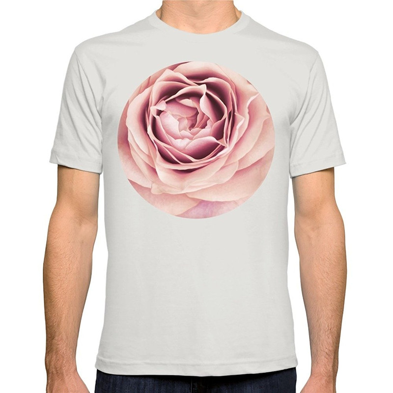 Summer Hipster Tops MenS My Heart Is Safe With You, My Friend - Pale Pink Rose Macro Short Graphic O-Neck Tees ...