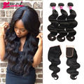 Indian Virgin Hair With Closure Body Wave With Closure 3Bundles With Closure Lace Closure With Bundles Sew In Weave Natural Wave