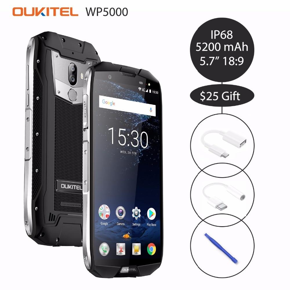 Oukitel WP5000 5.7 ''18:9 Android 7.1 Helio P25 Octa Core téléphone portable 6 GB RAM 64 GB ROM 5200 mAh 4G Smartphone IP68 étanche OTG