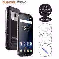 Oukitel WP5000 5,7 ''18:9 Android 7,1 Helio P25 Восьмиядерный мобильный телефон 6 ГБ Оперативная память 64 Гб Встроенная память 5200 мА/ч, 4G смартфон IP68 Водонепрониц
