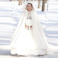 Long Warm Women White Ivory Faux Fur Winter Christmas Bridal Cape Stunning Wedding Cloaks Hooded Party Wraps Jacket
