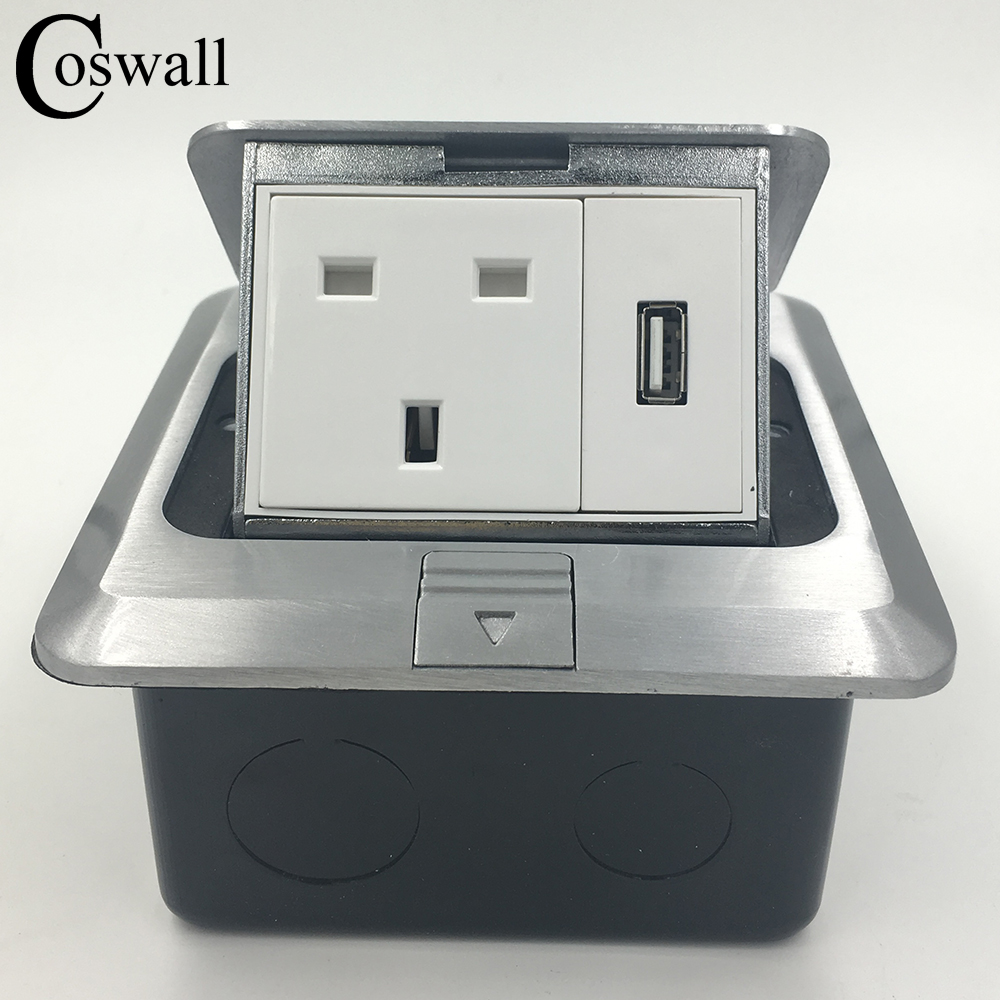 Coswall All Aluminum Silver Panel Pop Up Floor Socket UK Standard Power...