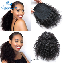 Sapphire Brazilian Hair Ponytail Afro Curly Wig Ponytail Dra