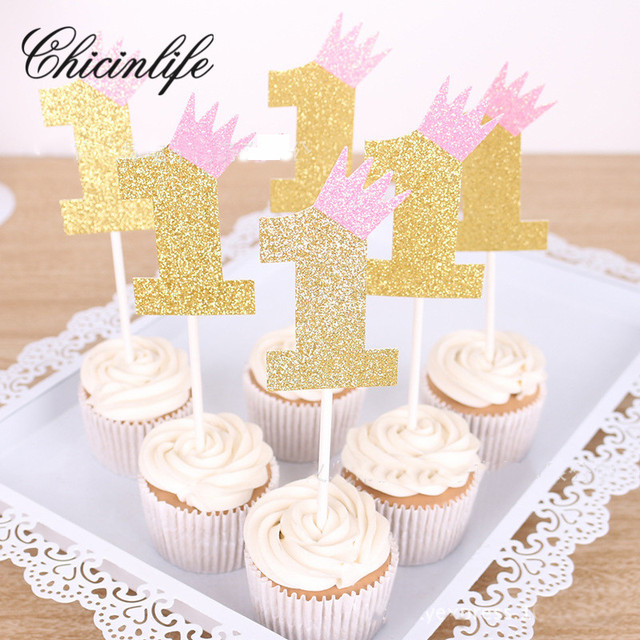 Chicinlife 5pcs 1st First Happy Birthday Crown Cake Cupcake Toppers