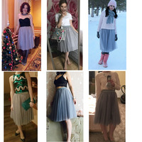 TingYiLi Tulle Skirts Womens Black Gray White Adult Tulle Skirt Elastic High Waist Pleated Midi Skirt 2016