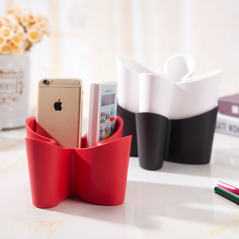 Creative Multifunctional Four Leaf Clover Desktop Remote Control Holder Rack Jewelry Plastic Storage Box Makeup Organizer Box