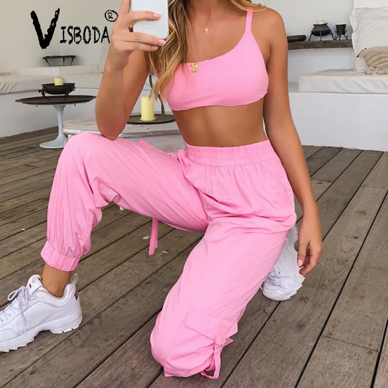 Women Tracksuits 2 Piece Set Neon Pink Cropped Top Loose Pants Fashion Female Summer Casual Lace Up Halter Tank Trousers Suit
