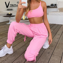 Women Tracksuits 2 Piece Set Neon Pink Cropped Top Loose Pants Fashion Female Summer Casual Lace Up Halter Tank Trousers Suit цены онлайн