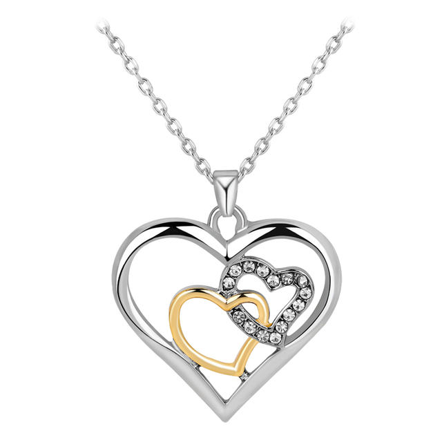 Three heart necklace custom made pendant necklace for women popular three heart necklace custom made pendant necklace for women popular design crystal necklace in 2018 aloadofball Images