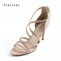 Fletiter Women Summer Gladiator Sandals Women Shoes Sexy Peep Toe Women Cuts Outs Pink Sandals Shoes Woman Ladies Sandals