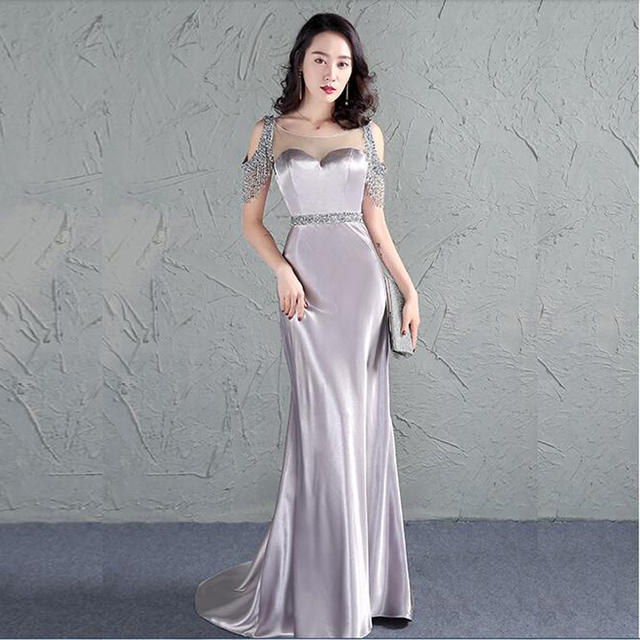 512478bff82e Wholesale Ladies Long Evening Dress Cap Sleeve With Beads Attractive Gown  Special Occasion Vestido De Noche