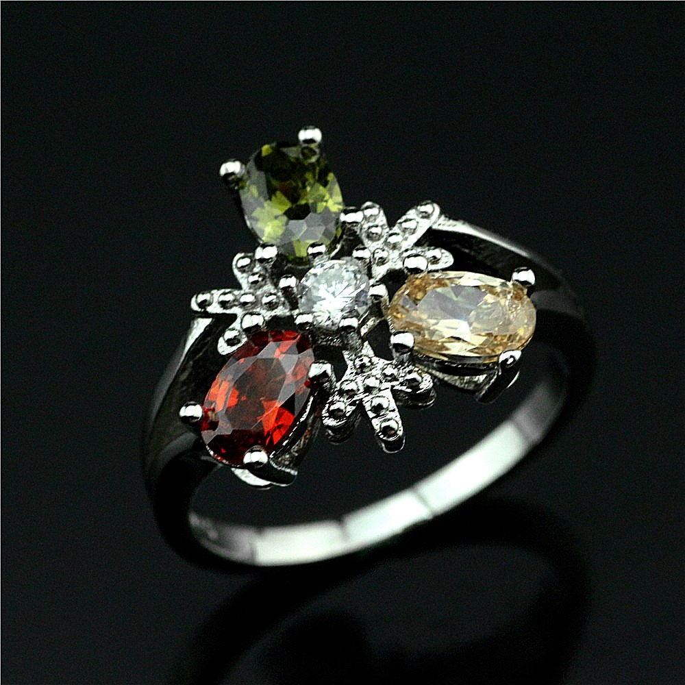 The new han edition 925 pure silver inlay zircon ring Birthday gift jewelry Character charm female