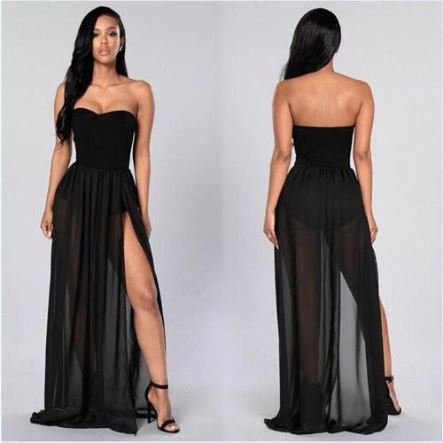 Women See Through Sheer Side Split High Waist Skirt Black Solid Transparent Chiffon Empire Pleated Maxi Long Skirt Summer Hot