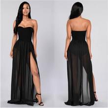 Saia feminina transparente cintura alta, peça saia transparente preta império maxi longa