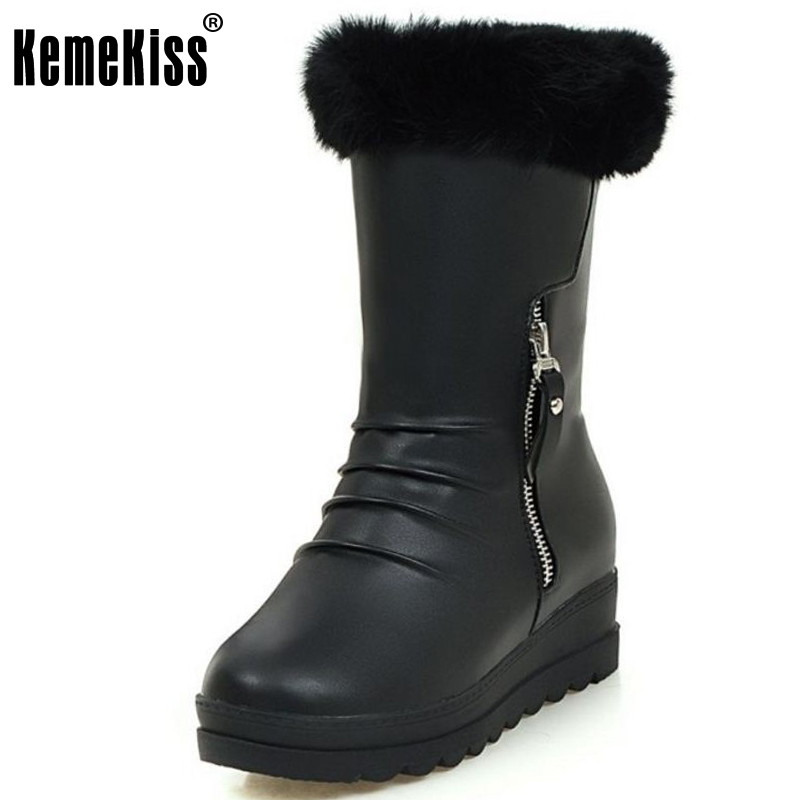KemeKiss Size 34-43 Women 'S Winter Snow Boots With Warm Fur Inside Female Zipper Mid Calf Thick Platform Warm Winter Botas fawn warm women s snow boots ming blue size 37