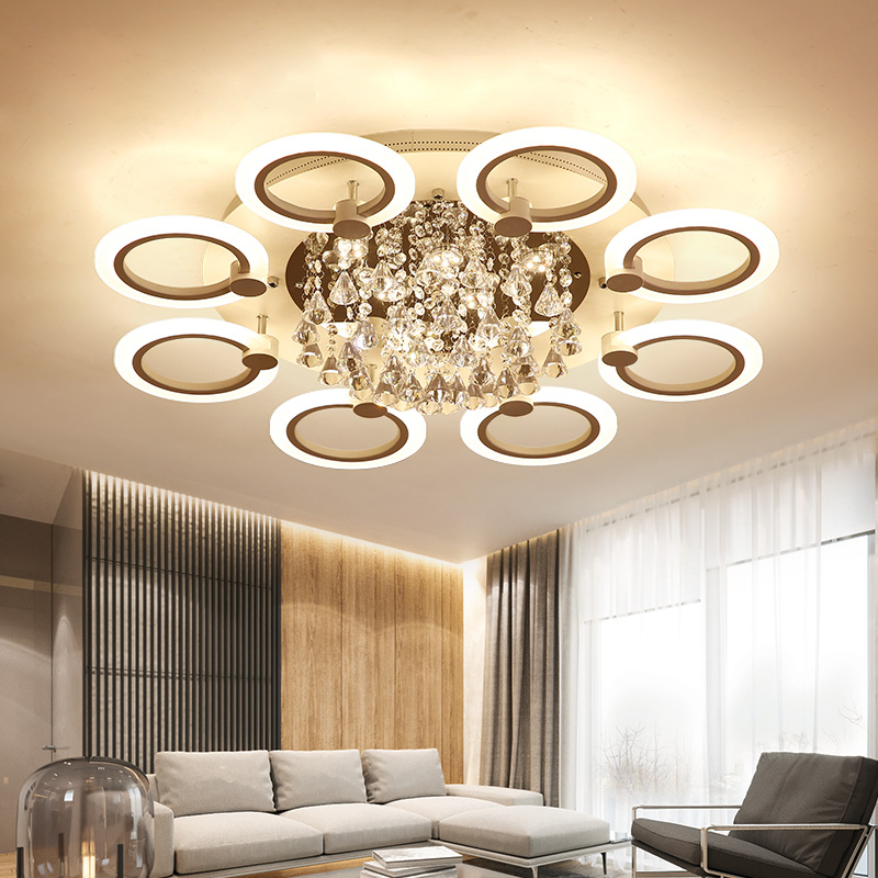 New Modern LED Crystal Chandelier For Living Room Bedroom Dining Room Acrylic Indoor Home Lighting Fixture Lustres De Cristal modern led crystal pendant lamp dandelion chandelier light fixture for dining room bedroom lustres de cristal ac110v 240v