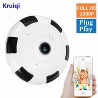 Kruiqi Wifi IP กล้อง 1080 จุด 2.0MP 360 องศา Panoramic Fisheye ไร้สายภายในกล้อง Night Vision  2   Way Audio-ใน กล้องวงจรปิด จาก การรักษาความปลอดภัยและการป้องกัน บน