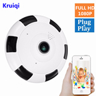 Kruiqi Wifi IP Camera 1080P 2.0MP 360 Degree Panoramic Fisheye Wireless Indoor Security Camera with Night Vision, Two-Way Audio