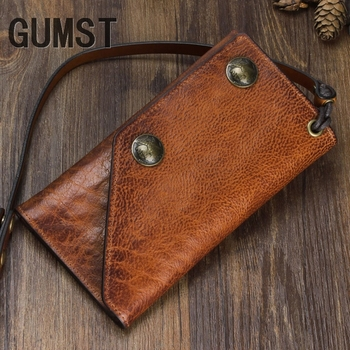 GUMST Handmade retro leather long wallet multi-function suede leather men and women clutch bag anti-theft chain multi-card posit
