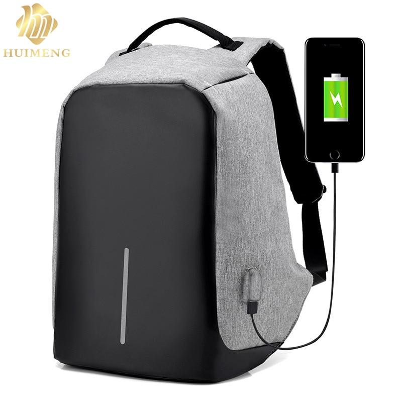 ФОТО HUIMENG Brand 15.6 Men Laptop Backpack External USB Charge Antitheft Computer Backpacks Male Waterproof Bags Tigernu Anti-theft