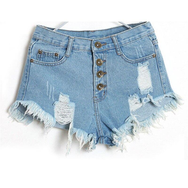 1 Pc Frauen Vintage Hohe Taille Weiche Und Bequeme Jeans Loch Kurze Jeans Denim Shorts L50/0130 Eine Lange Historische Stellung Haben