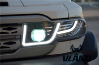 Vland Car Lamp for FJ Crusier LED Headlight+middle Grill LED Headlamp Fit for Year Model 2007 2015