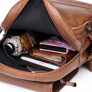 Image 5 - Vintage Tassels Backpack New Women Retro PU Leather Rucksack Big Capacity School Bag For Teenager Girl Travel Bolsas