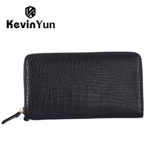 KEVIN YUN fashion men bag genuine leather handbag long zipper male business clutch bags