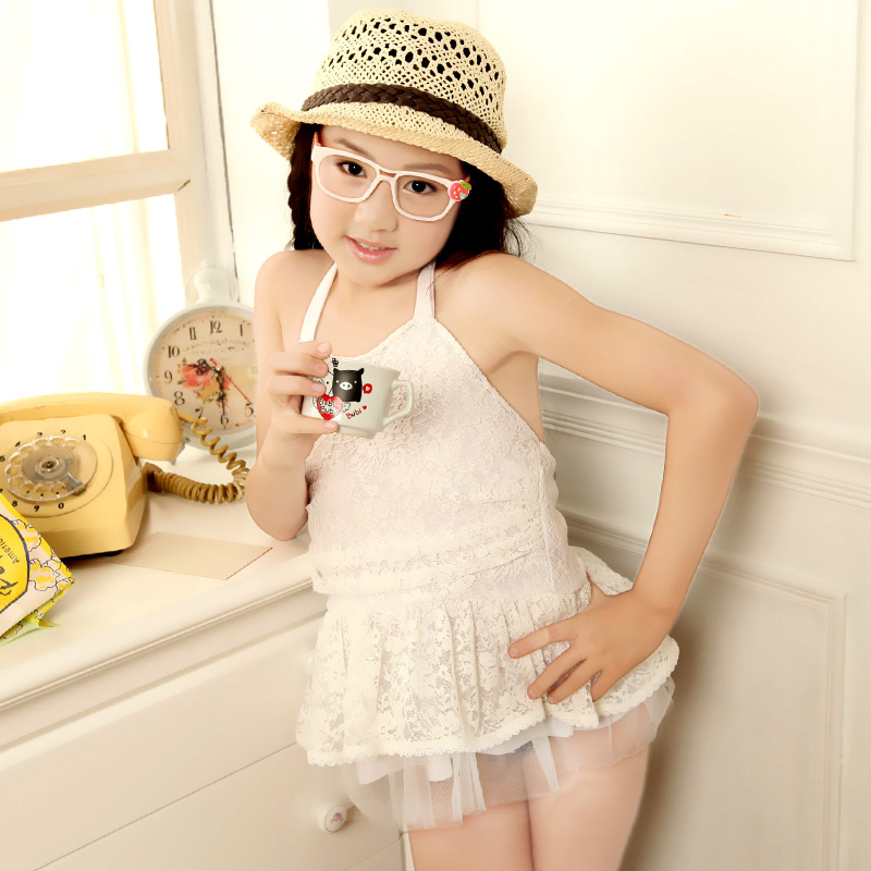 77a41c992d The new children s swimwear girls children Korea Cute Princess van halter  dress swimsuit Siamese type girl