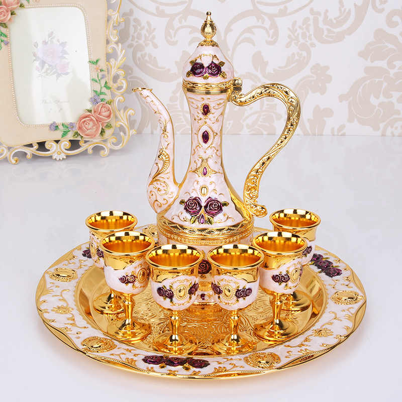 Nga phong cách Châu Âu Rượu Thủy Tinh Rượu hông bình rượu Bộ sáng tạo hợp kim cũ hông bình rượu thủy tinh tặng đám cưới