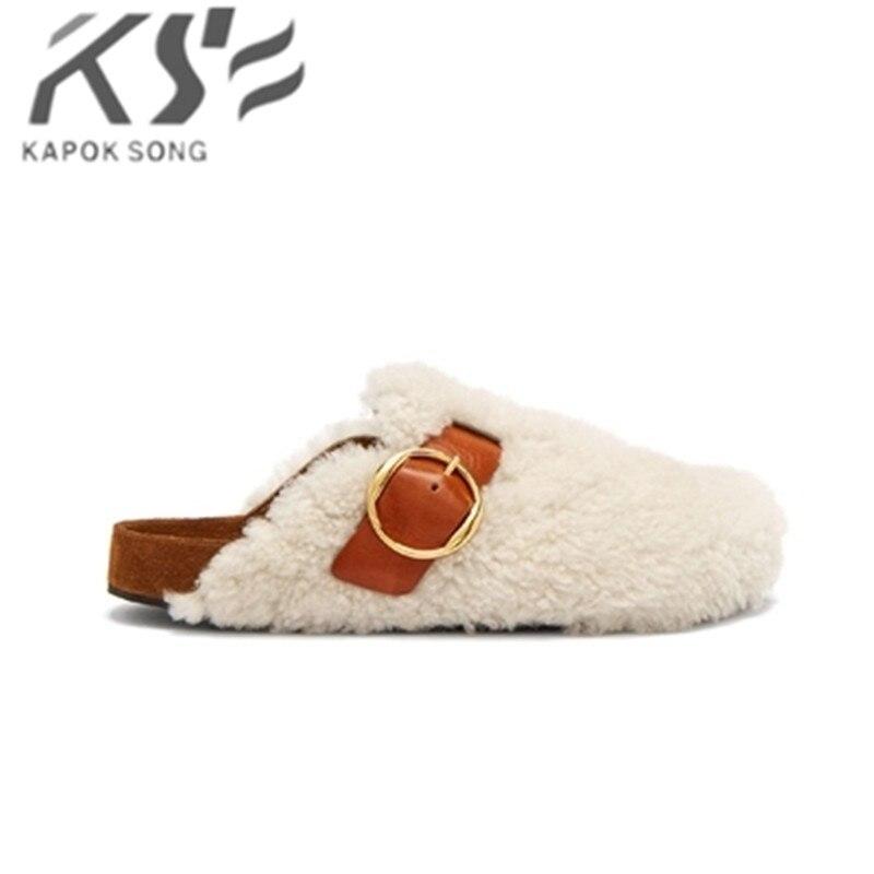 Тапочки женские теплые шерстяные тапочки модные дизайнерские роскошные модели genunie из овечьей кожи Удобные сандалии женская обувь