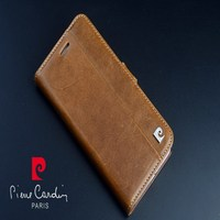 Pierre Cardin Brown Genuine Leather Case For Apple iPhone SE/5S 6/8/7 Plus Skin Cover Flip Case Open Up and Down