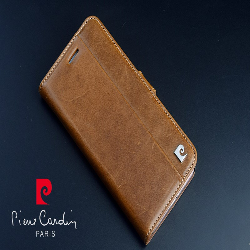 Pierre Cardin Brown <font><b>Genuine</b></font> <font><b>Leather</b></font> <font><b>Case</b></font> For Apple <font><b>iPhone</b></font> SE/<font><b>5S</b></font> 6/8/7 Plus Skin Cover Flip <font><b>Case</b></font> Open Up and Down image