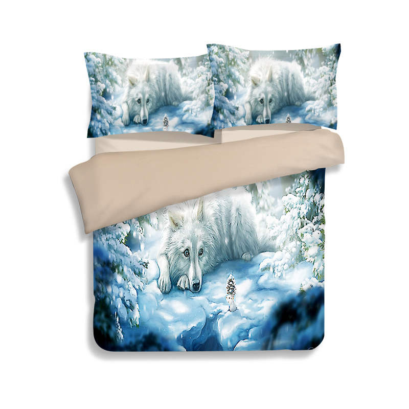 Snow Wolf Animal 3D Printed Comforter Bedding Set Twin Full Queen King Size Duvet Cover 3pc Childrens Adult Home Textile LinensSnow Wolf Animal 3D Printed Comforter Bedding Set Twin Full Queen King Size Duvet Cover 3pc Childrens Adult Home Textile Linens