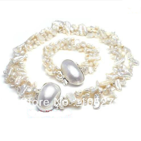 New Arriver Jewelry Set Queen Vogue Freshwater Pearl Necklace Bracelet Bride Fashion Wedding Party Jewelry Free ShippingNew Arriver Jewelry Set Queen Vogue Freshwater Pearl Necklace Bracelet Bride Fashion Wedding Party Jewelry Free Shipping