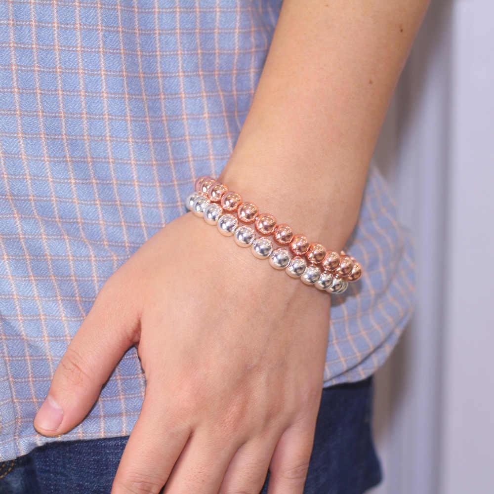 Серебро и розовое золото Натуральный камень Бусины Браслеты для Для мужчин Мода серый счастливый камень браслет из бисера ручной работы браслет здоровья