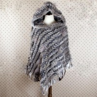 FXFURS Real Knitted Rabbit Fur Shawl with Tassel Fashion Rabbit Fur Poncho with Hood 3 Colors