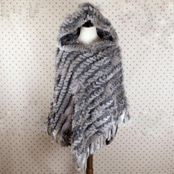 FXFURS tejida auténtica chal de piel de conejo con borla moda Poncho de piel de conejo con capucha 3 colores