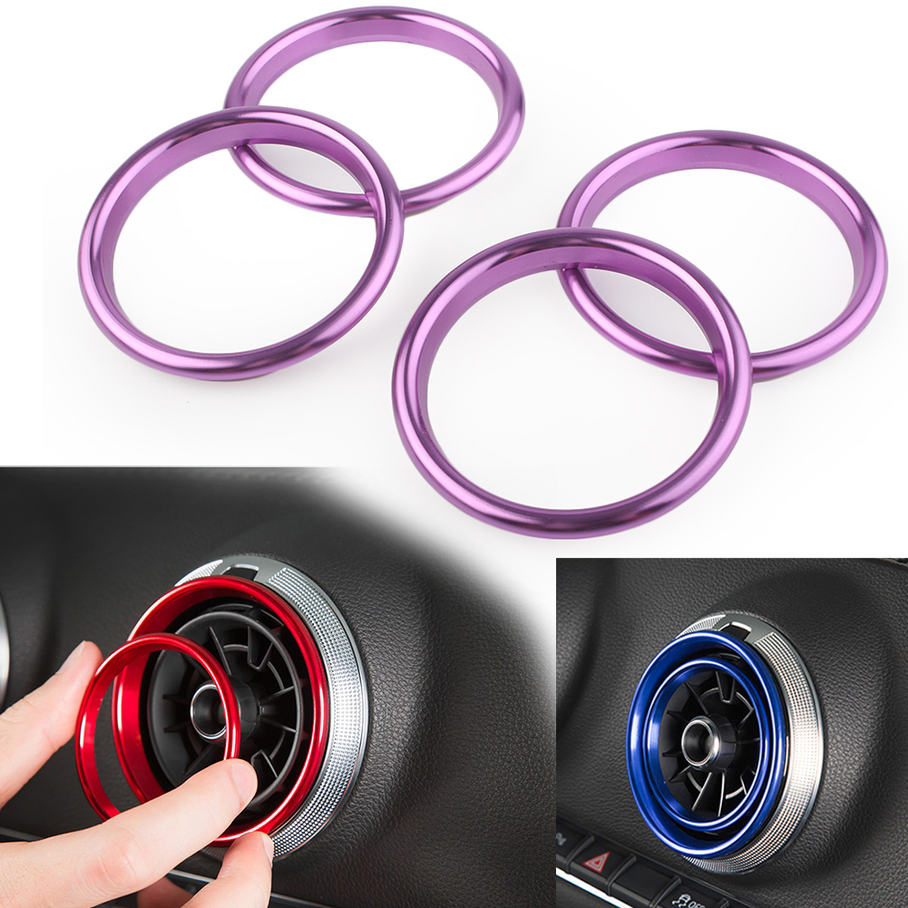Dashboard Air Vent Outlet Ring Cover Trim For Audi A3 S3 8V 2012 2013 2014 2015 2016 2017 2018 2019 4Pcs/set Purple