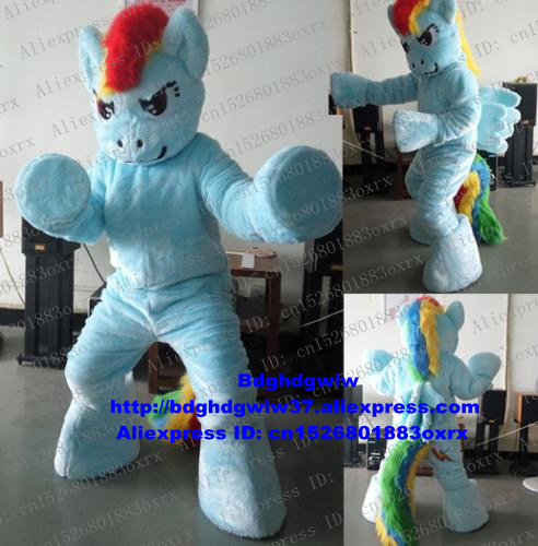 Adroit Light Blue My Little Pony Horse Rainbow Pony Steed Mascot Costume Adult Character Organize An Activity All Saints Day Zx949