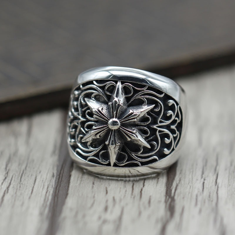 S925 Sterling Silver Personality Punk Wind Hexagram Man Domineering Ring Ring Retro Ring Thai Silver Jewelry s925 sterling silver vintage six buddhist mantra rotating personality ring ring and old thai silver jewelry