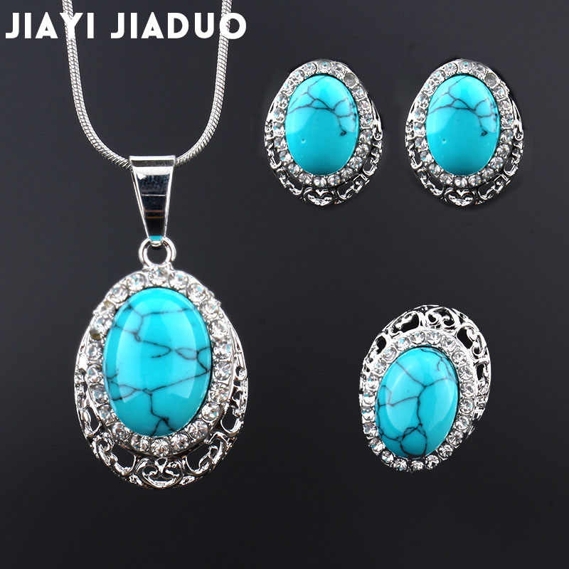 jiayijiaduo Fashion wedding jewelry set silver-color Africa Pendant Earrings Necklace Earrings for women accessories wholesale