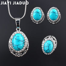Jiayijiaduo-ensemble de bijoux de mariage, tendance, pendentif africain, couleur argent, boucles d'oreilles et colliers, accessoires pour femmes, vente en gros