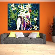 Mädchen orchidee sitzen Figur Malerei Abstrakte Spray Rahmenlose wohnkultur zeichnung Leinwand ölgemälde airbrush Wasserdicht