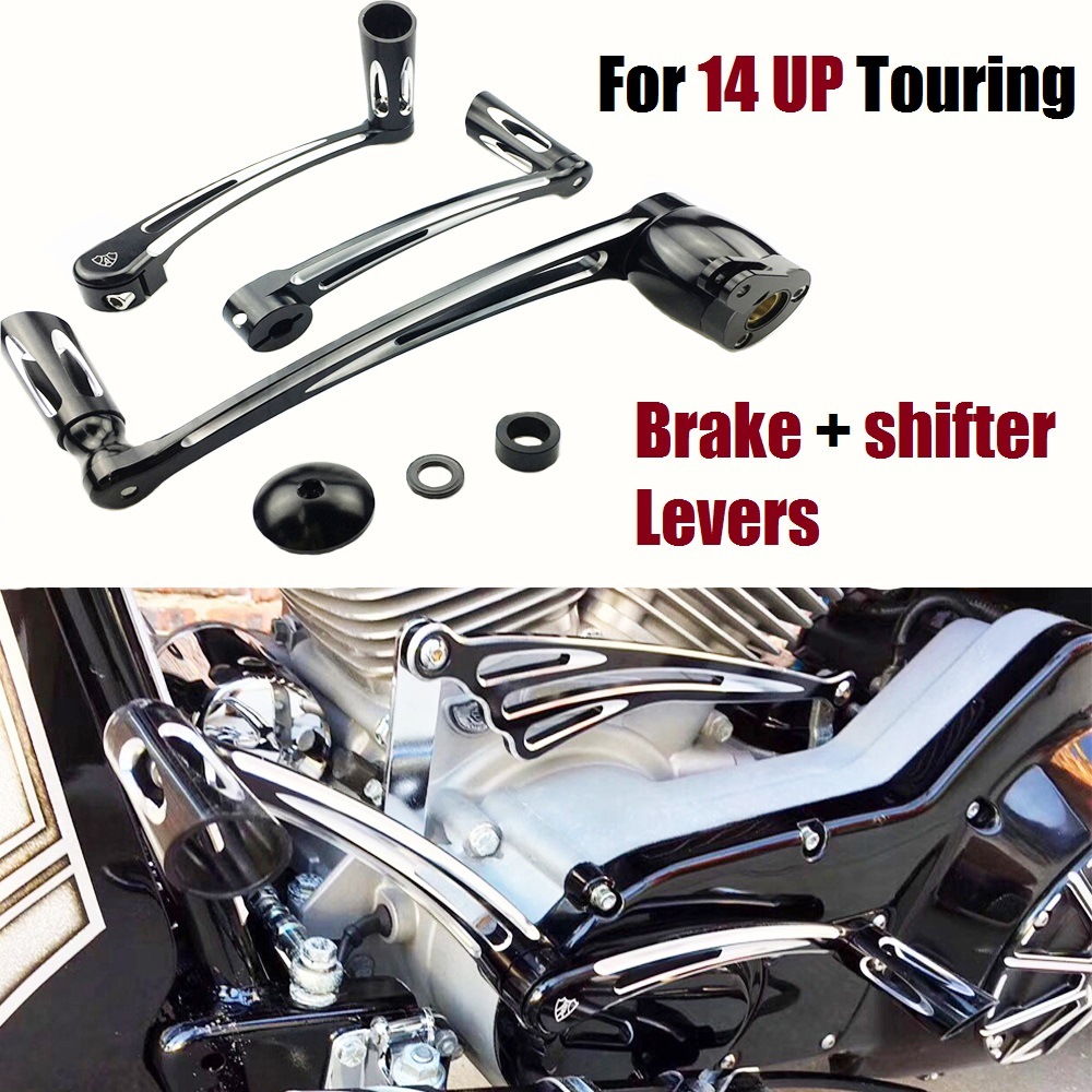 Deep cut CNC Brake Arm Kit Shift Lever Pegs For Harley Electra Road Glide Road King Street Glide tri glide motorcycle 2014 2018