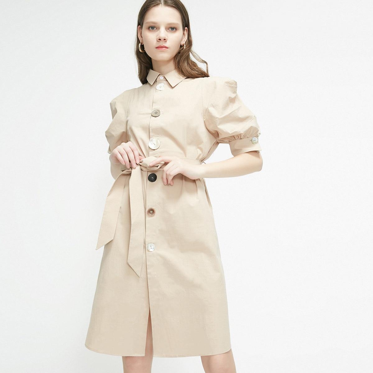 Robes été 2019 édition coréenne nouveau col à manches bulles robes à boutons