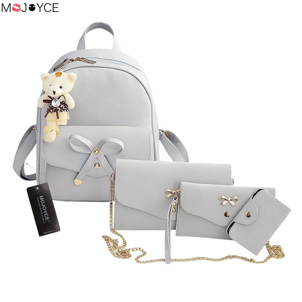 2017 Famous Brand Women Backpack PU Leather Bowknot Backpacks for Girls School Bags with Purse and Bear sac a dos цена