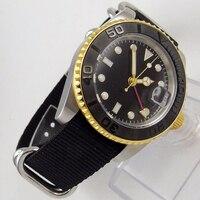 Cristal de safira 40 MM Estéril Preto Mostrador do Relógio Banhado A Ouro Caso Função GMT Luminous Marcas dos homens Movimento Automático