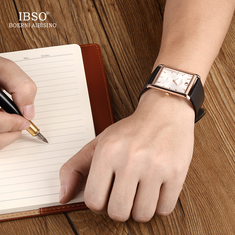 Image 2 - IBSO Brand Men Wrist Watch Luxury Quartz Watch Creative Rectangle Dial Business Men Leather Watches 2019 Erkek Kol Saati #2232-in Quartz Watches from Watches