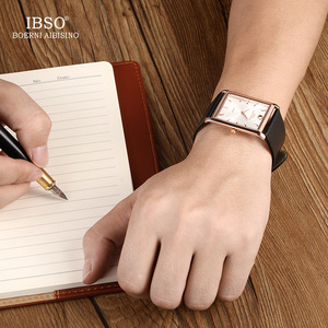 Image 2 - IBSO Brand Men Wrist Watch Luxury Quartz Watch Creative Rectangle Dial Business Men Leather Watches 2019 Erkek Kol Saati #2232